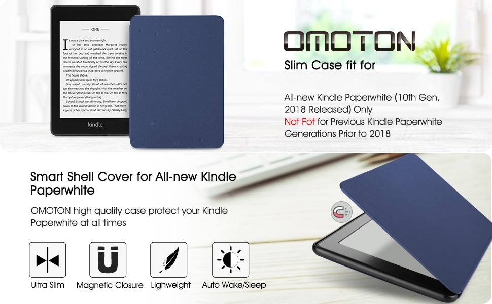 OMOTON Kindle Paperwhite Case (10th Generation-2018), Smart Shell Cover with Auto Sleep Wake Feature for Kindle Paperwhite 10th Gen 2018 Released, ...