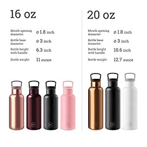 VACUUM INSULATED STAINLESS STEEL BPA FREE WATER BOTTLE BIG OPEN MOUTH KEEP WATER WARM HOT COLD ICE