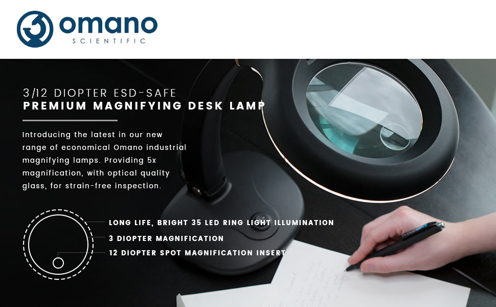Premium desk magnifying lamp 3 diopter 12 diopter spot up to 5x