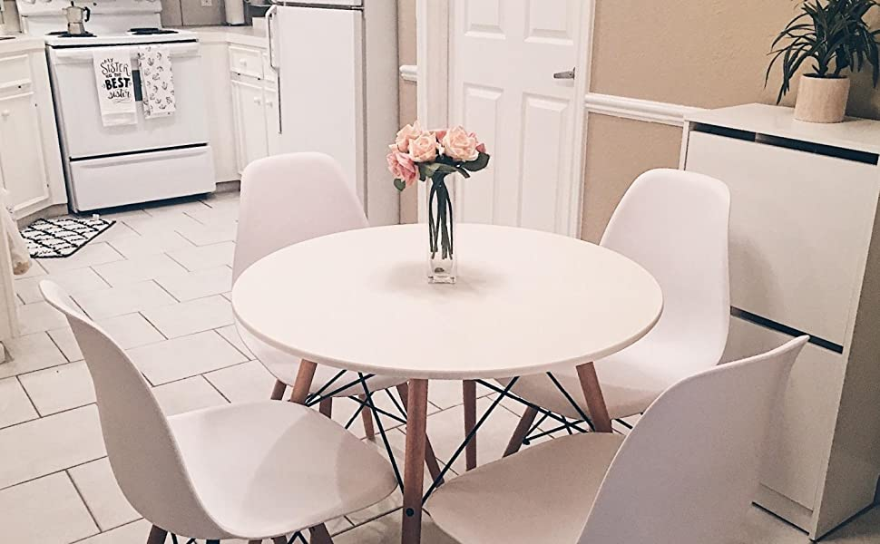 Amazon.com - Kitchen Dining Table White Round Coffee Table Modern ...