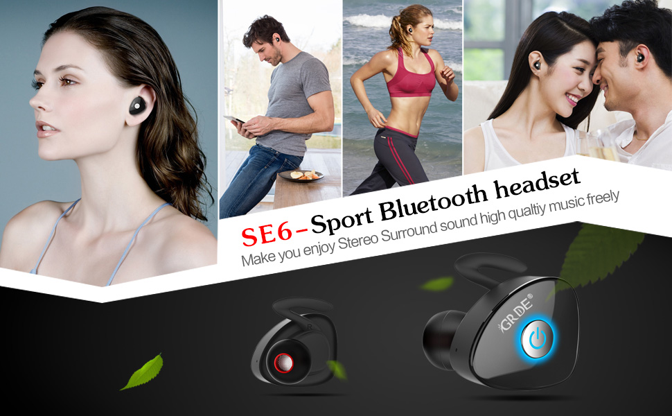 GRDE Bluetooth Earbuds Wireless Stereo Headphones with Latest Bluetooth V4.1 + EDR