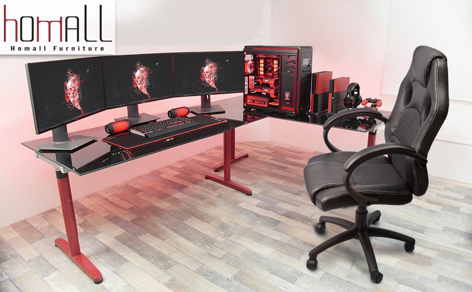 Amazon.com: Homall Executive Swivel Leather Office Chair, Racing ...