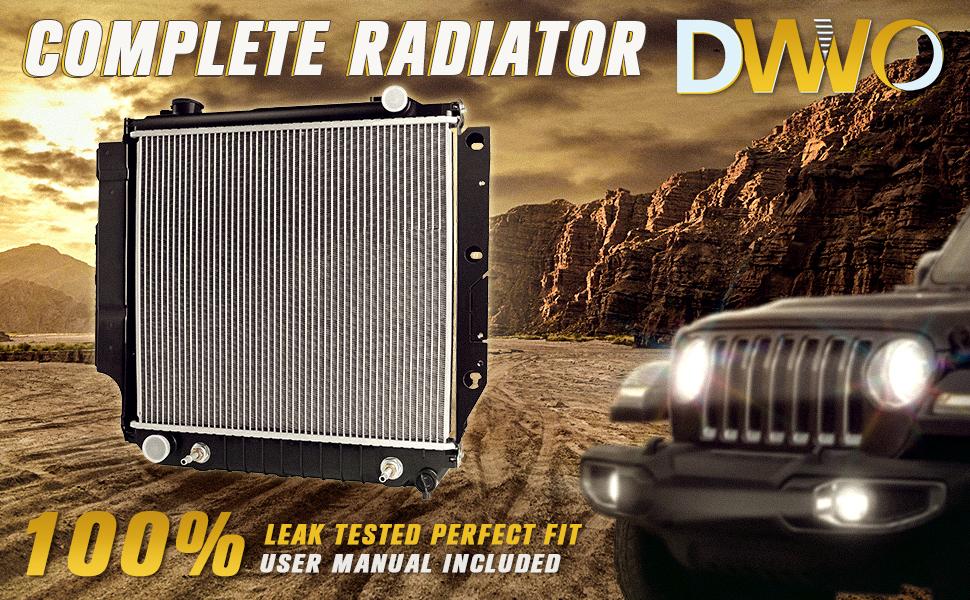 1987-2006 Jeep Wrangler 2.4L 2.5L 4.0L 4.2L L4 4Cyl V6 6Cyl DWVO Replacement Complete Radiator For 1997-2006 Jeep TJ