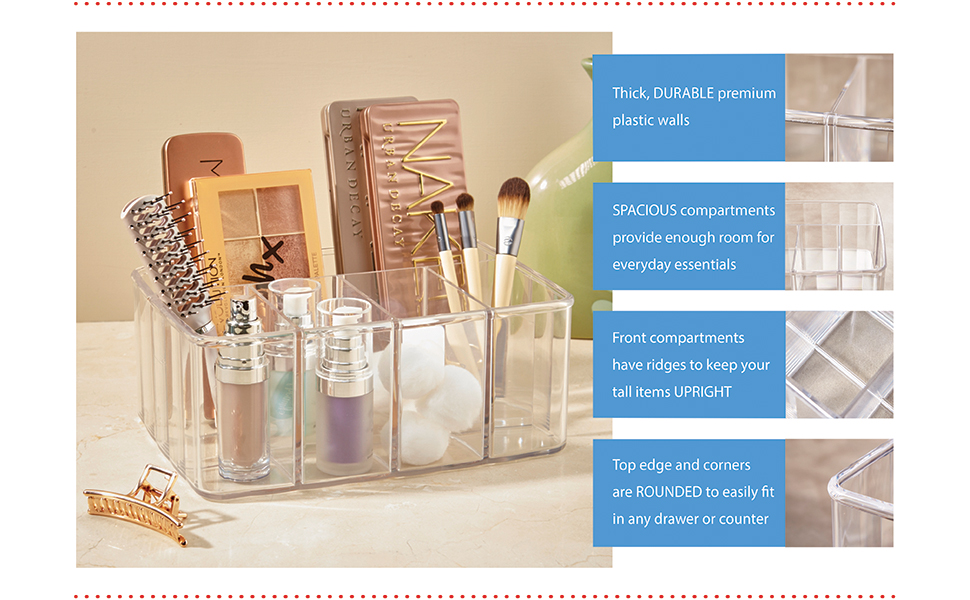 5-compartment vanity organizer clear