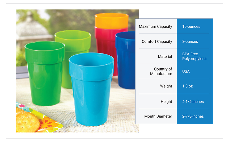 spectrum 10oz plastic drinking cups