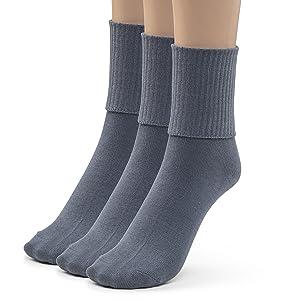 Silky Toes 3 or 6 Pk Girls Boys Turn Cuff Bamboo Casual Socks for School Uniform Triple Roll Dress Crew Socks