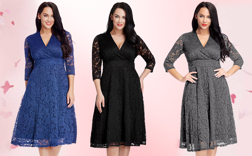 908bb3b053 Women s Lace Plus Size Mother of the Bride Skater Dress Bridal Wedding Party