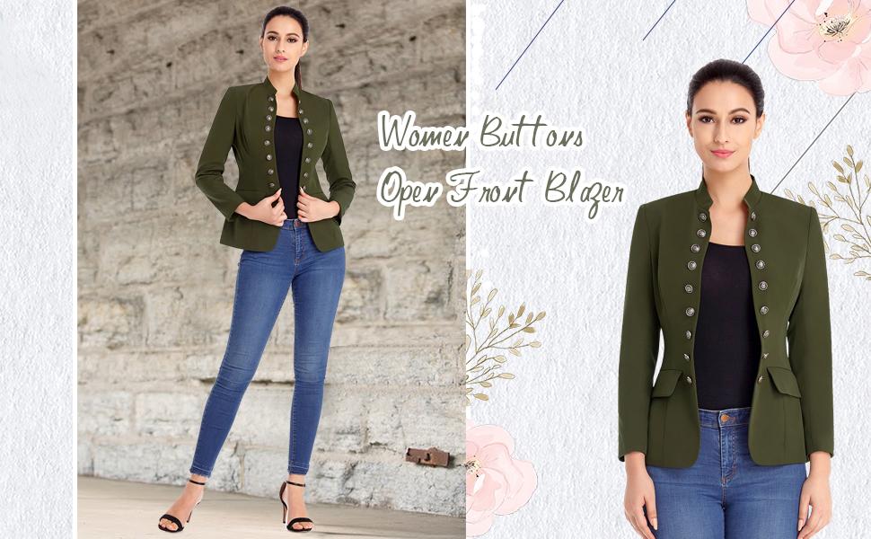 women buttons open front blazers