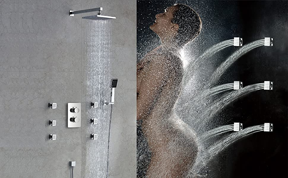 Artbath 4 PCS Square Shower Body Jets Shower Body Sprayer Chrome Finished