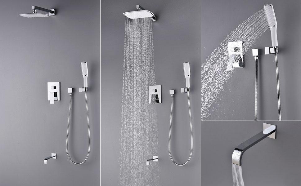 Artbath Rain Shower Set with Tub Spout Faucet, Plastic Wall Mount ...