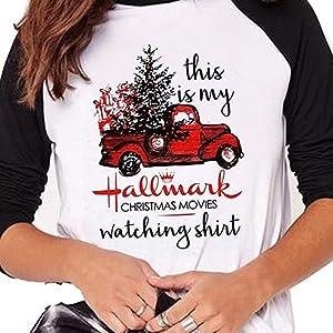 Hallmark Christmas Shirt.Women Christmas Movies Watching Shirt Truck Printed Baseball T Shirts Splicing Tops