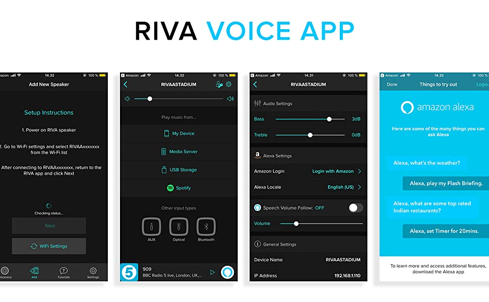 The RIVA Voice app allows for easy setup, speaker control, and advanced features including the Push-To-Talk function for voice control direct from your ...