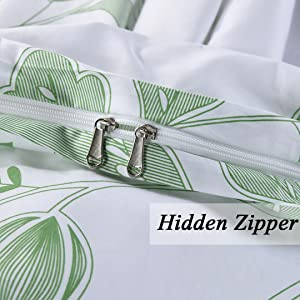 SexyTown Botanical Duvet Cover Set with Zipper Closure