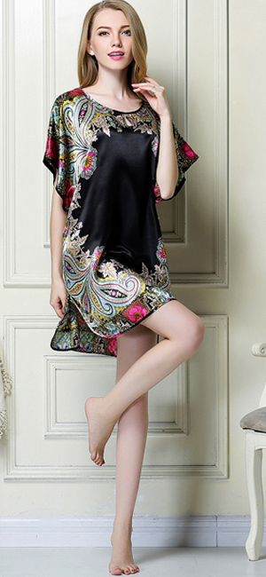 c703c985e7 Women s Soft Silk Batwing Sleeve Nightgown. Fabric  Primium Polyester  Satin. Luxurious silky feel and look