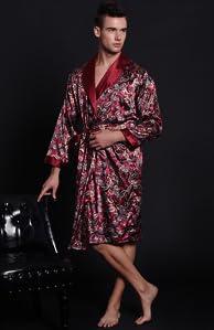 865512bcee SexyTown Long Satin Lounge Print Bathrobe Men s Charmeuse Sleepwear With  Pockets