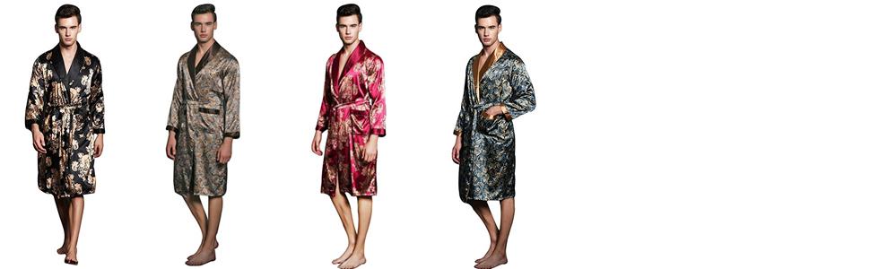 1c875f64ae SexyTown Long Satin Lounge Print Bathrobe Men s Charmeuse Sleepwear ...