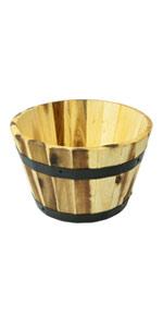 Villa Acacia wood planter barrel pot 11 inches round