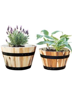 Villa Acacia Planter Barrel Pots Sets of 2, 11 and 10 Inches Round