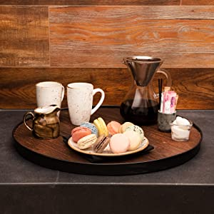 Thirteen Chefs Faux Wine Barrel Top Serving Tray Farmhouse 20 Inch Round Wood Platter with Handles