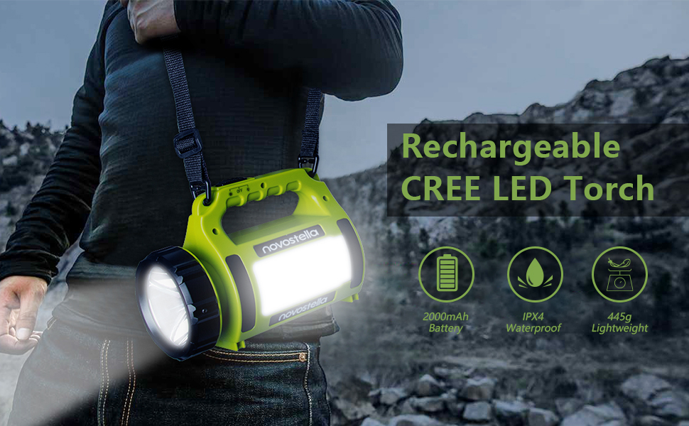 NOVOSTELLA Ustellar Rechargeable CREE LED Torch Multi-functional Camping Light,