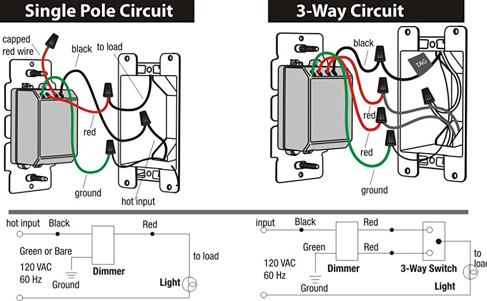 Cloudy Bay in Wall Dimmer Switch for LED Light/CFL/Incandescent, 3-Way  Single Pole Dimmable Slide, 600 Watt max, Cover Plate Included: Amazon.com:  Industrial & Scientific | 3 Way Dimmer Switch Wiring Diagram |  | Amazon.com