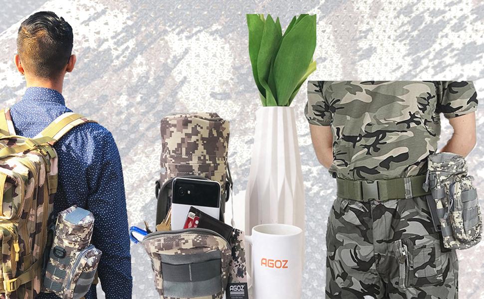 Gexgune Tactical Water Bottle Pouch 600D Portable Molle Kettle Holder Pocket Army Gear Bag Utility Pouch pour la Chasse en Plein air randonn/ée