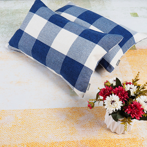Buffalo Check Pillow Covers Blue and White Lumbar Pillow Cover