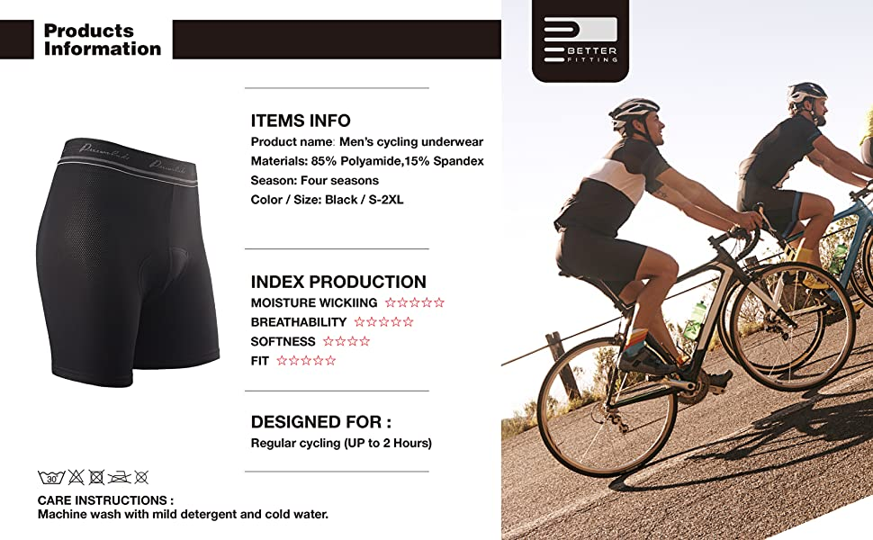ee3a81065 Przewalski Mens Cycling Underwear Shorts 3D Padded Bike Bicycle Riding MTB  Liner- Verified Fit  Comfort