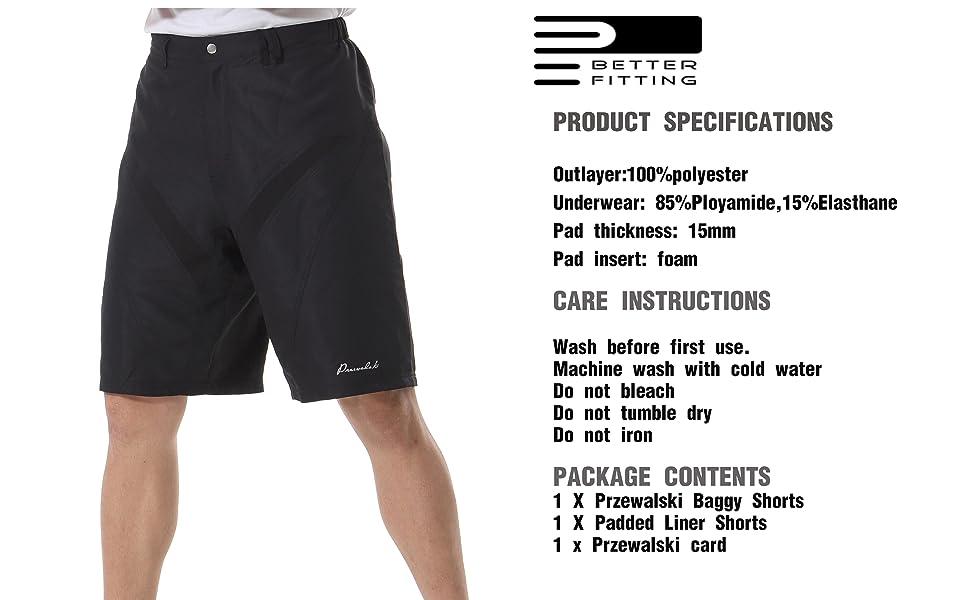 6203bf1a9 Men s MTB Mountain Bike Cycling Shorts w Padded Underwear