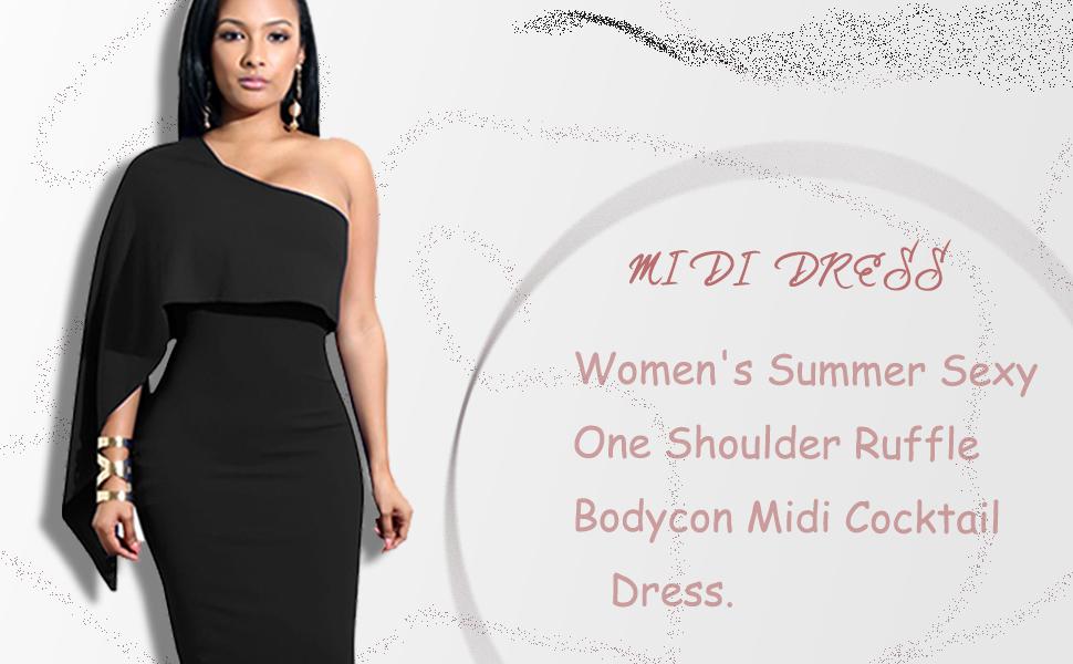 77dac682c039e GOBLES Women's Summer Sexy One Shoulder Ruffle Bodycon Midi Cocktail Dress