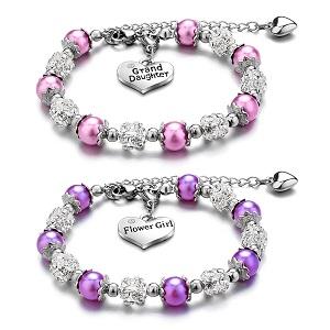 Charm Bracelet for Girls Beads Bracelet Jewelry for Granddaughter Sister Handmade Bracelets Charm Heart Pendant Rhinestone Crystal Balls Faux Pearls Jewelry Gifts for Daughter Niece Flower Girl