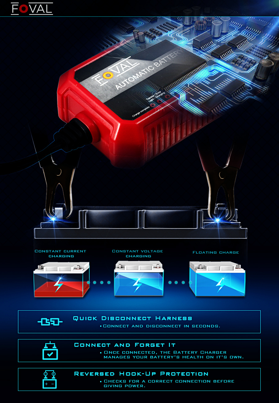 Foval Automatic Trickle Battery Charger 12v 1000ma Smart Sla Gel Circuit With Monitor Meter Function Four Charge Mode