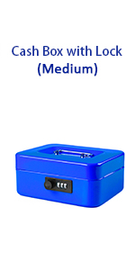 blue cash box with combination lock