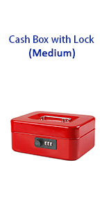 red cash box with combination lock