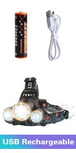 led headlamp flashlight rechargeable head lamp rechargeble headlight bright led work hardhat helmet