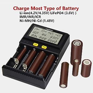 Compatible Li-ion(4.20V 4.35V) IMR INR ICR LiFePO4(3.60V) 10340 10350 10440 10500 12340 12500 12650