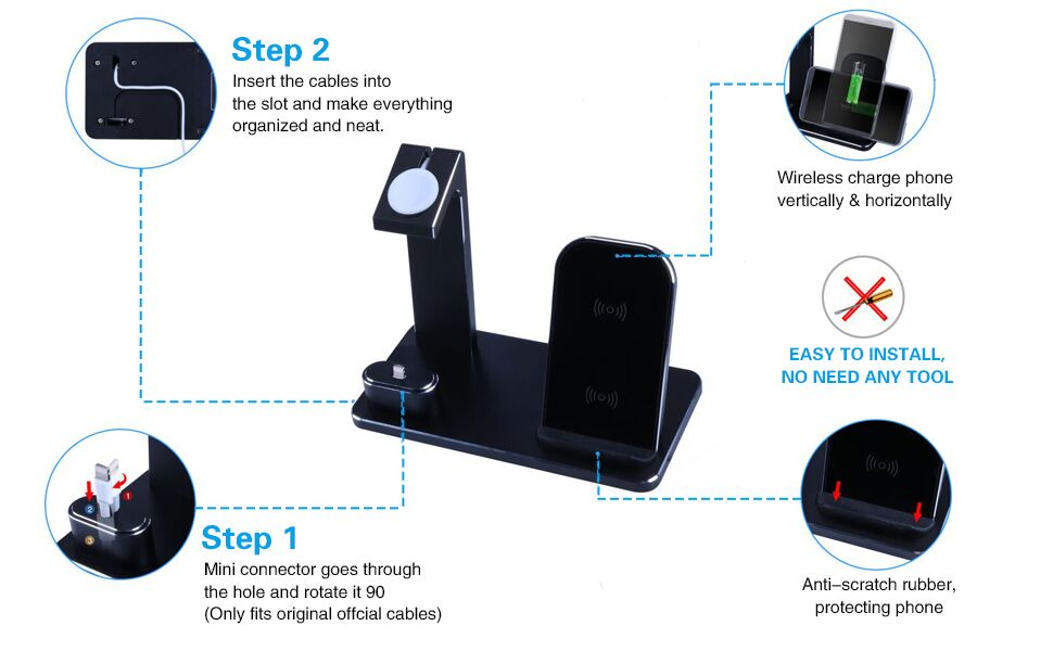 wireless charging station charger stand for apple products multiple devices xs max xr x 8 plus