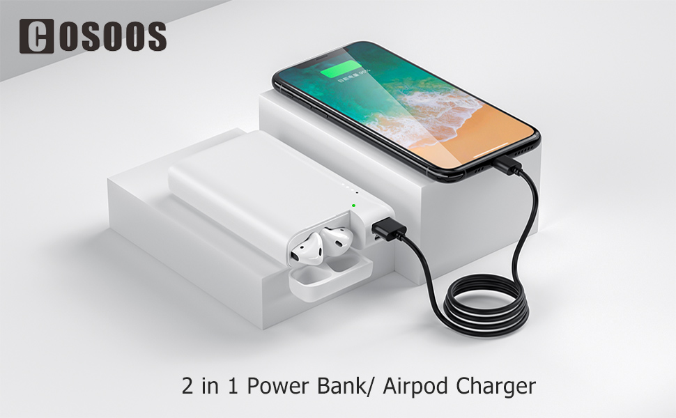 Aipods Charger with 10000mAh Power Pack