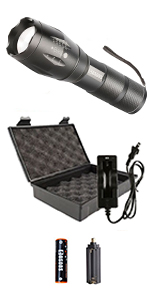 flashlight with rechargeable battery charger 18 65 carrying case portable small hand bright lamp t6