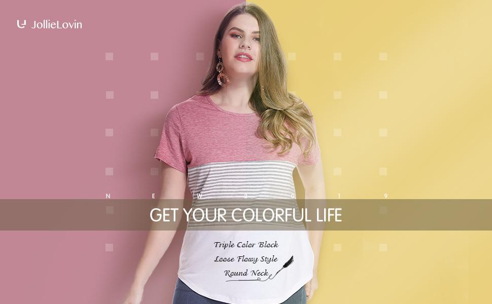 JollieLovin Womens Short Sleeve T Shirt Round Neck Triple Color Block Stripe Tops