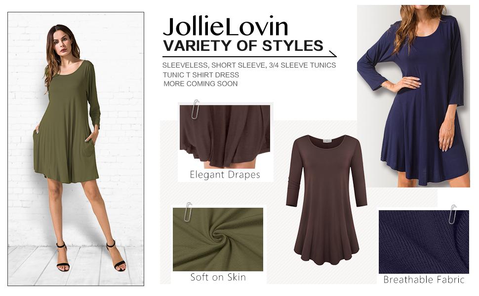 a9ad5cb5db0b9 JollieLovin Women's Casual Swing 3/4 Sleeve Pockets T-Shirt Loose ...