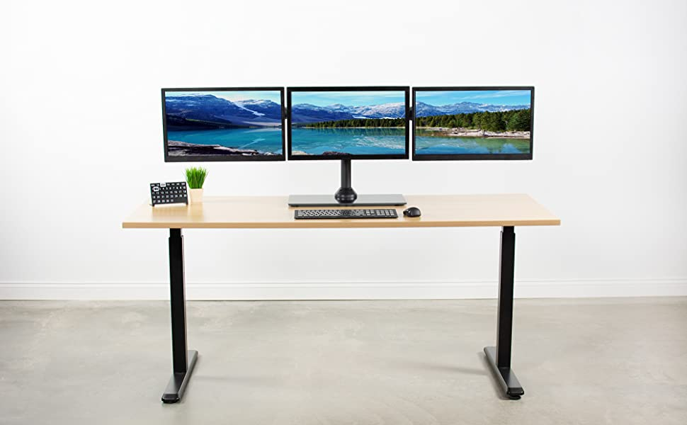 """15/"""" ~ 30/"""" Triple Monitor Mount Free Standing Desk Stand Adjustable For 3 Screens"""