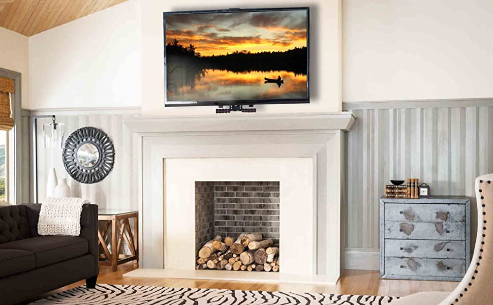 Vivo Counterbalance Tv Wall Mount For 40 To 63 Inch Lcd Led Plasma Screen Above Fireplace Height Adjustable Swivel Pneumatic Spring Pull Down Mantel