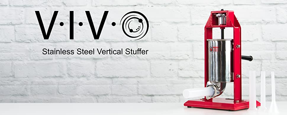 Amazon new vivo sausage stuffer vertical stainless steel 3l vivo single gear sausage stuffer is an easy to use tool designed to make stuffing your own sausage quick and simple features include a stable all metal sciox Images