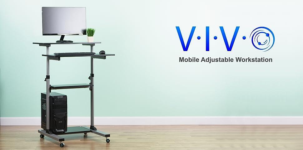 Amazon Com Vivo Mobile Height Adjustable Stand Up Desk
