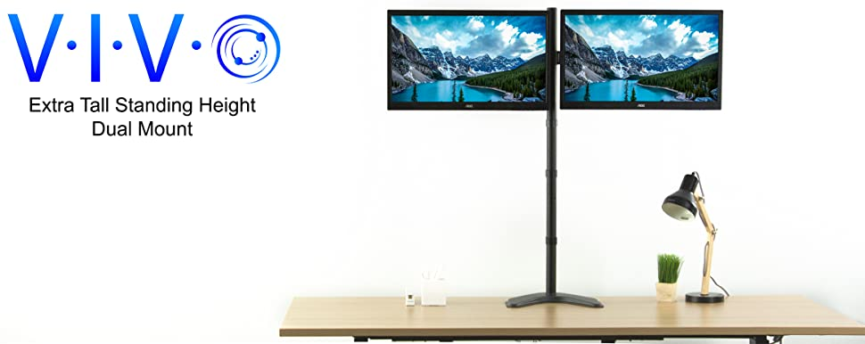 Amazon Com Vivo Dual Monitor Free Standing Stand Up Desk