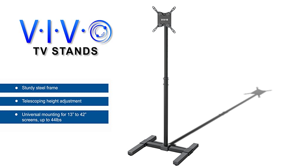 Height Adjustable Mobile TV Mounting Floor Stand  STAND TV07  from VIVO   This sturdy TV stand mounts the majority of flat screens from 13  to 42  in  size. Amazon com  VIVO TV Display Portable Floor Stand Height Adjustable