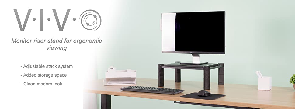 height adjustable monitor stand standv000b from vivo raise your display to a comfortable and optimal viewing height using the stack