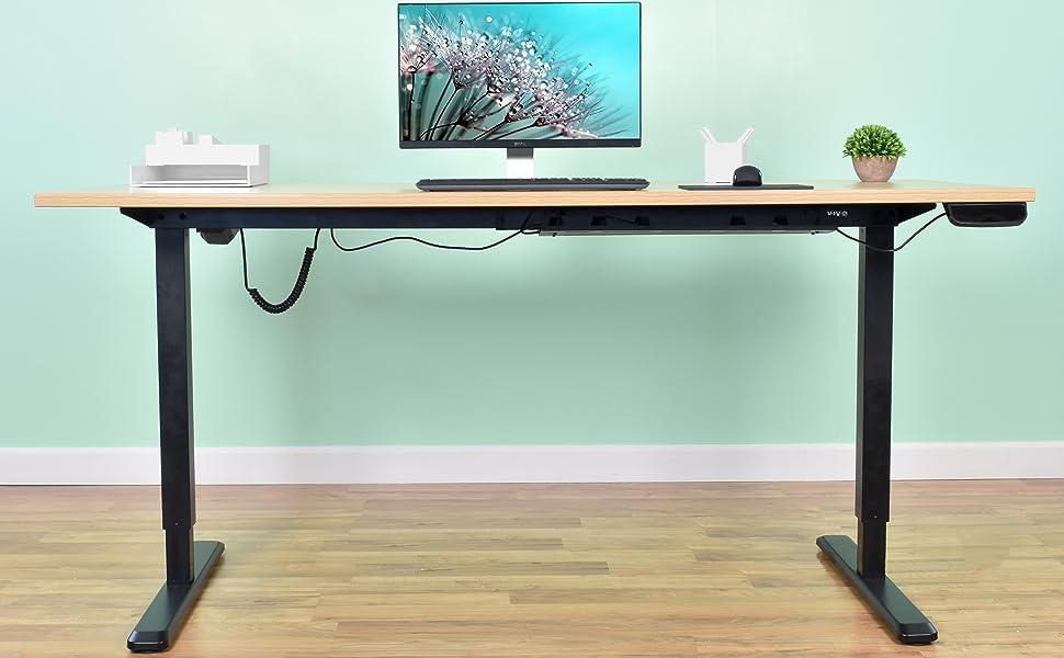Amazoncom VIVO Black Electric Stand Up Desk Frame Workstation - Custom table pads 69 usd