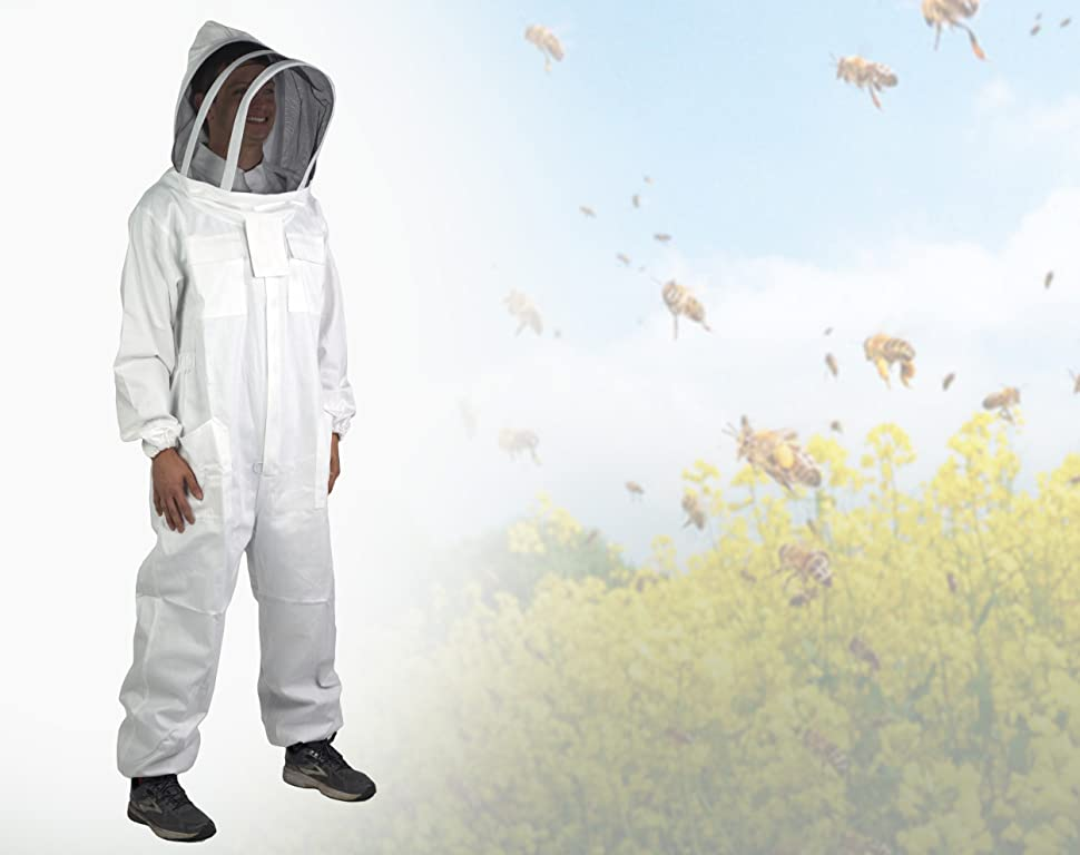 VIVO Professional XL/XXL Cotton Full Body Beekeeping Suit with Veil Hood (BEE-V106XL)